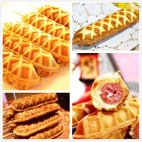 Waffles on a stick with hot dog, breakfast sausage or bananas and nuts