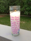 Memorial Candle lit to honor Sophie's donor