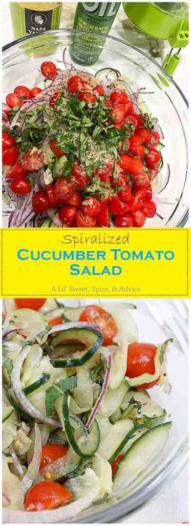 Spiralized Cucumber Tomato Salad -- This Spiralized Cucumber Tomato Salad is the perfect raw vegetable salad to end the summer with! Cucumber noodles, grape tomatoes, and red onions are tossed in a Thai Basil Ginger Vinaigrette. -- lilsweetspiceadvice.com