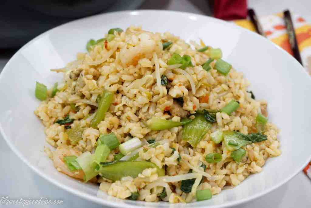 Spicy Fried Brown Rice with Shrimp and Pork Belly -- This spicy fried brown rice is the perfect side dish or a stellar main dish with the shrimp, pork belly, bok choy, and other vegetables. -- lilsweetspiceadvice.com #friedrice #healthyfriedbrownrice #spicyfriedrice