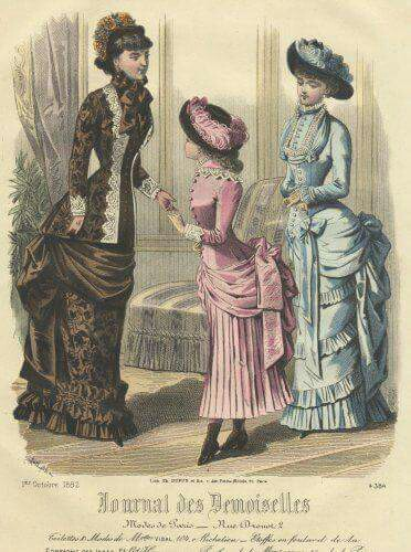 Fashion Plate from the Journal des Demoiselles. Prior to the advent of color photography, this was one of the primary methods for publicizing fashions trends during the Nineteenth Century.