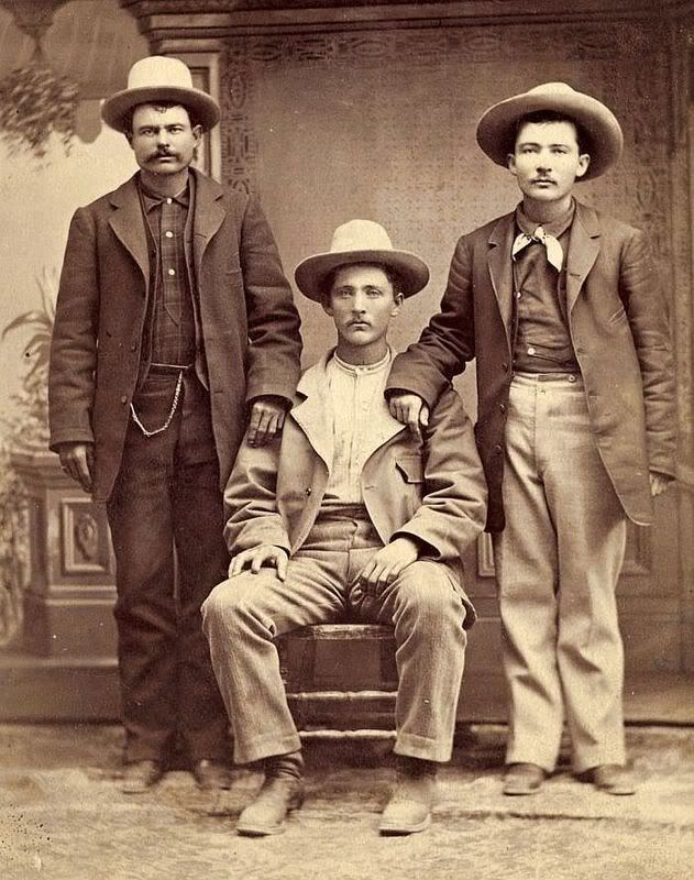 This is a great early Arizona Territory image from C.S. Fly of three identified cowboys with John Slaughter's Ranch outfit. The men are identified on the reverse in pencil as,