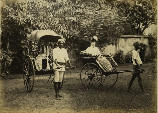 Two British Women In Rickshaws - Ceylon (Sri Lanka) c1870's