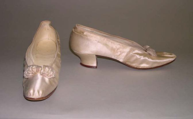 Shoes that were worn along with the dress.