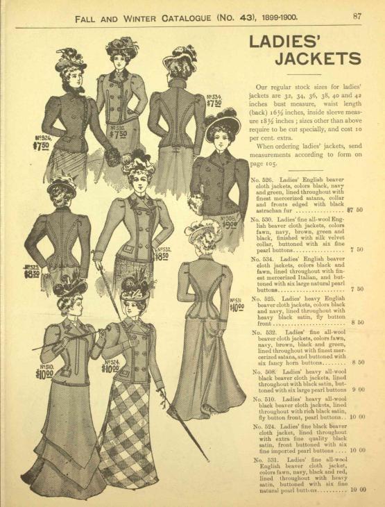 Womens' Jackets 1899 - 1900