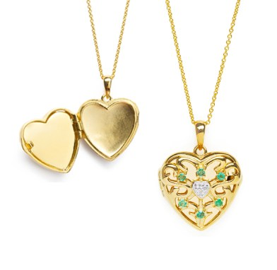 Lily Blanche Gold Love Locket Emerald