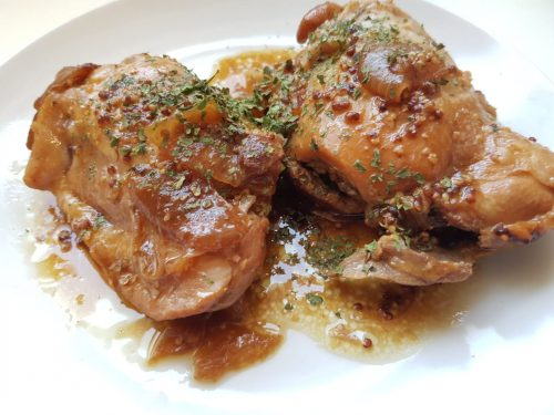 poulet à la moutarde cookeo, lilygourmandises, recette cookeo