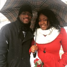 Sara Deliat and McAlbert Jean are not afraid of celebrating Valentine's Day in the cold at the Central Park Ice Festival.