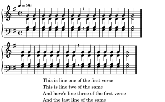 LilyPond Learning Manual: A.4.6 Hymn tunes