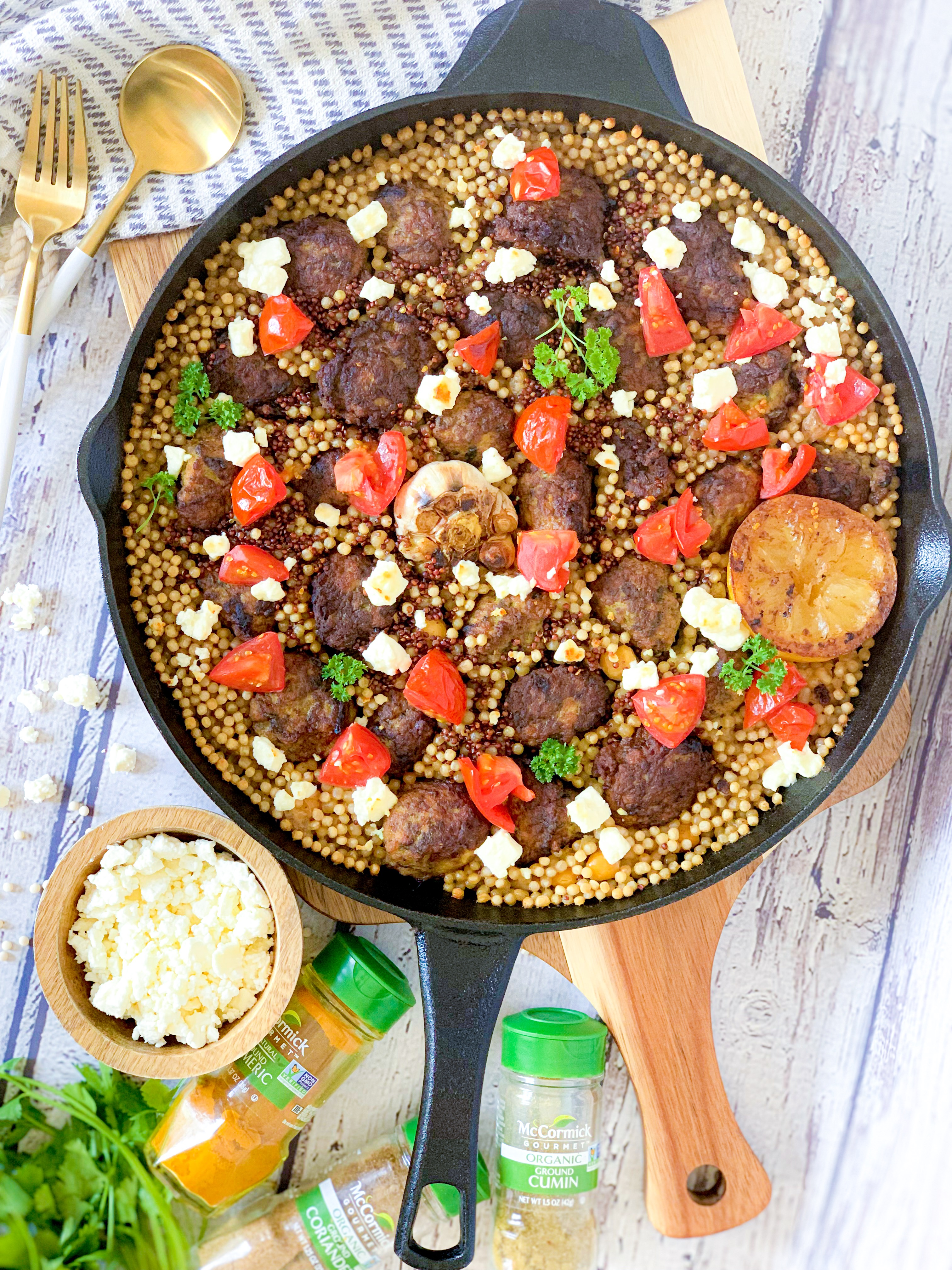 Greek Couscous and Meatballs