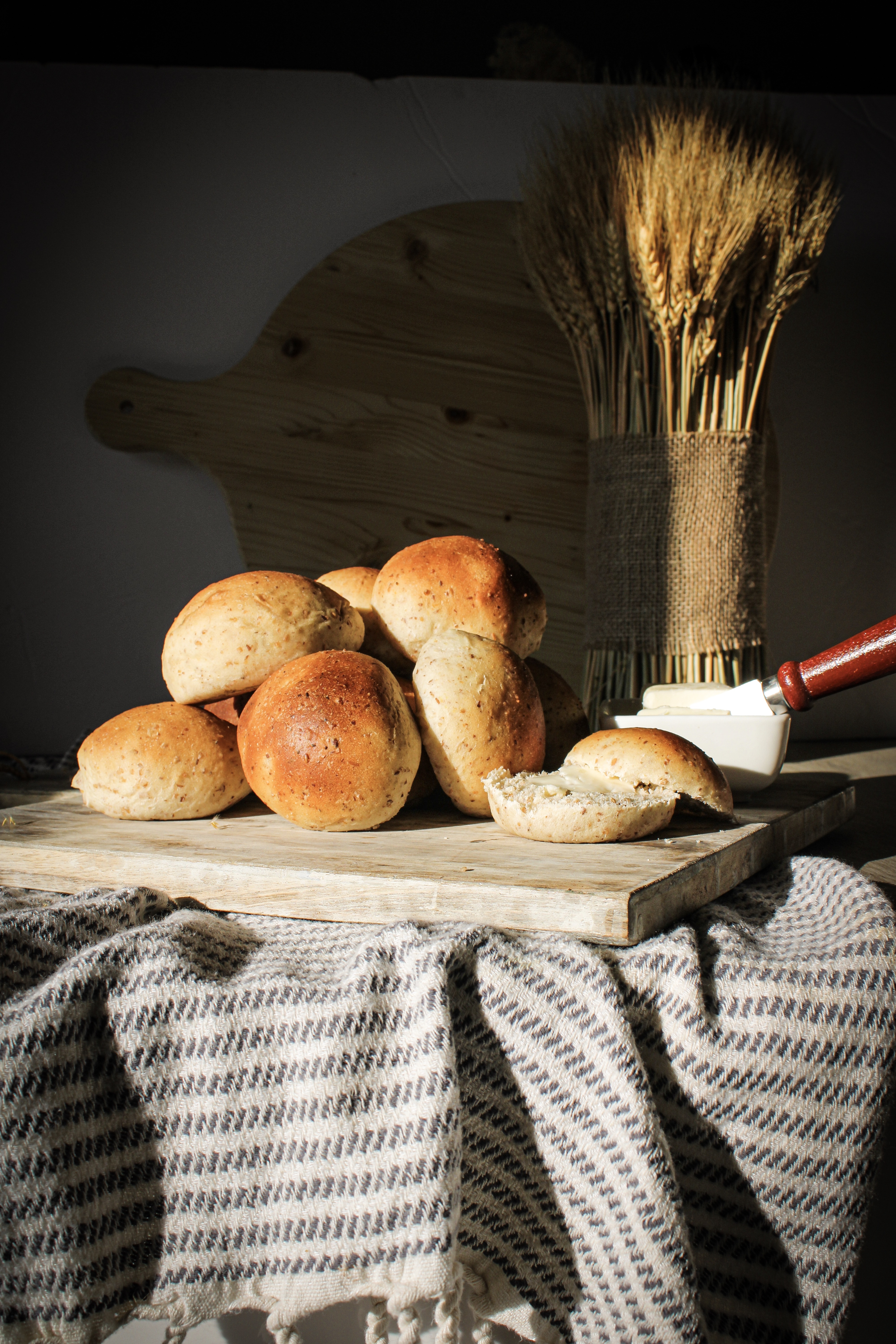 Whole Wheat and Flax Seed Dinner Rolls