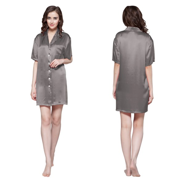 Momme Button Front Silk Nightshirt