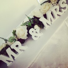 Mr and Mrs sign wedding centrepiece, Glasgow - Lily Special Events
