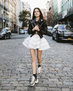 Leandra Medine Cohen in the streets on New York wearing LV Archlights Sneakers