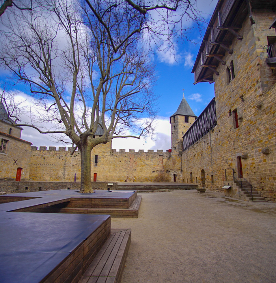 View of the Carcassonne Courtyard in Carcassonne, France