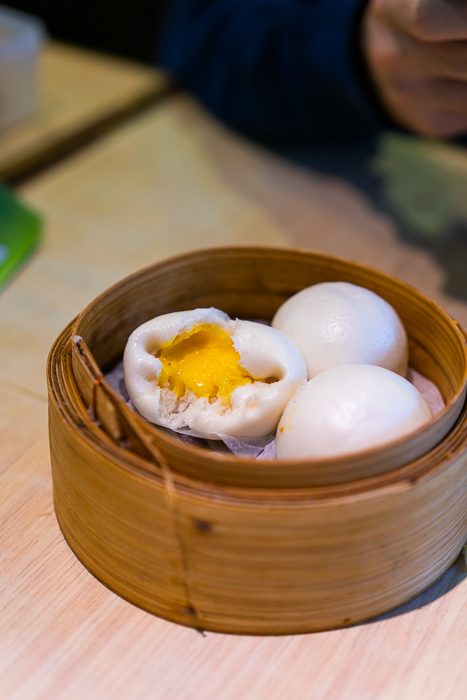 Sweet yolk custard buns at Tim Ho Wan