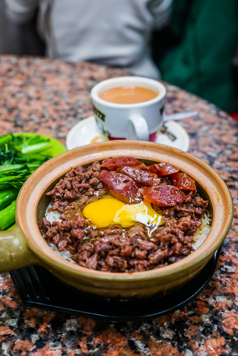 Minced beef and Chinese sausage with egg clay pot rice from wing hop sing in Hong Kong