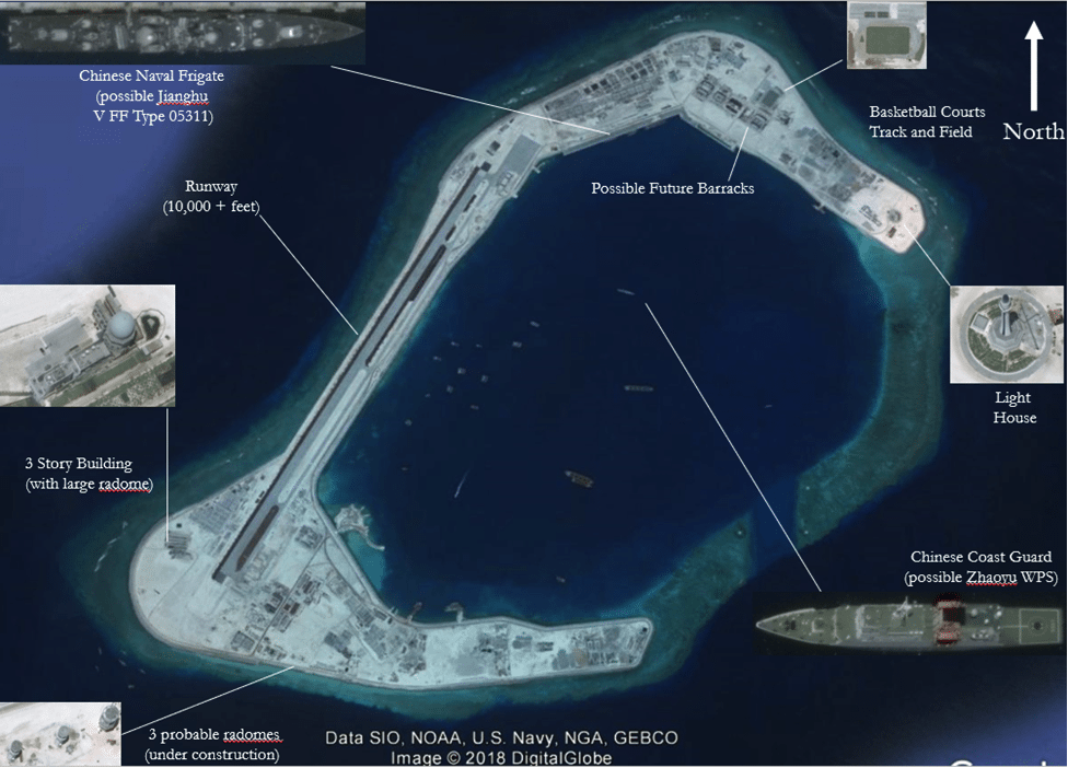 Image (Raw Imagery of Subi Reef from Google Earth, April 30, 2016; graphic overlay by David Firester, Lima Charlie News)