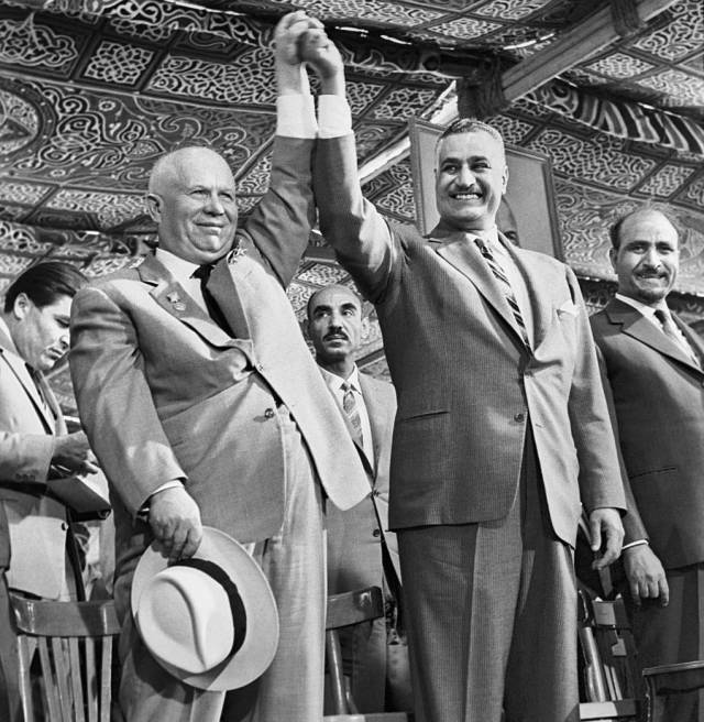 [President of Egypt Gamal Abdel Nasser greets First Secretary of the Central Committee of the Communist Party of the Soviet Union Nikita Khrushchev (L) during his visit to the United Arab Republic in 1964. (Photo Vasily Yegorov / ITAR-TASS)]