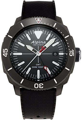 Alpina Mens Seastrong Diver Titanium/Stainless Steel Swiss Quartz Diving Watch with Rubber Strap, Black, 22 (Model: AL-247LGG4TV6) (Alpina Watches for Men)