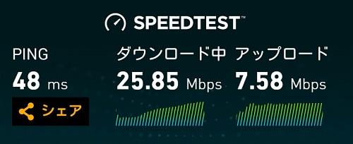 WX04をクレードルに挿してスピードテストをした結果→25.85Mbps