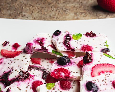 Berry Sorrel Yogurt Bark