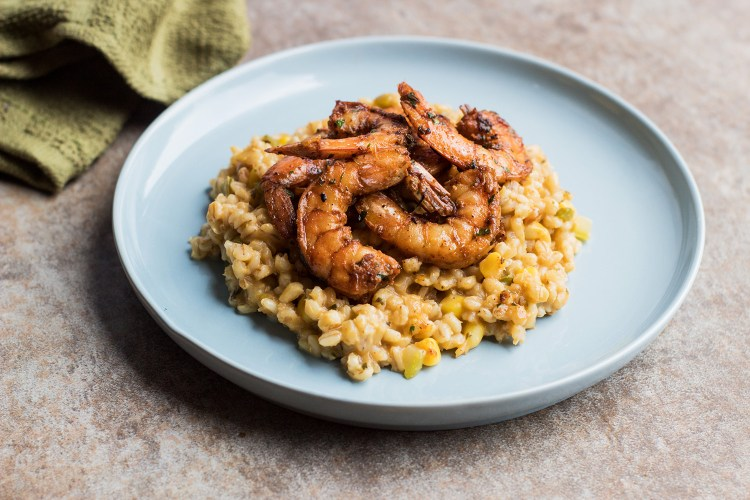 Barley Risotto and Shrimp