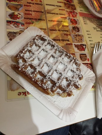 My first real Belgian waffle!!! It melted in my mouth!