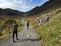 The walk in on the Heavenly Gates trail. Carrauntoohil is the peak with the wispy cloud in front of the peak on the right side.