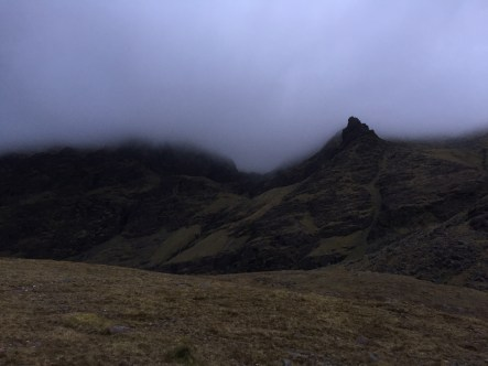 Looking back at Carrauntoohil, completely encapsulated by the clouds