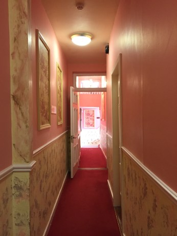 A hallway in the B&B in Cork. So pink!