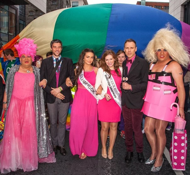 A sea of pink for Marriage Equality at the Limerick Pride Parade 2013. Richard pictured with Sheila Fitspatrick, Hugo Dahn, Miss Limerick Shauna Lindsay, Chole Heslin, the Limerick Rose and Madonna Lucia. Picture: Dolf Patijn