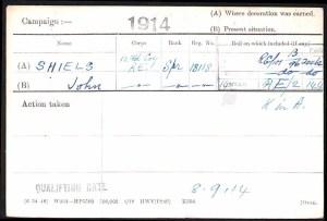 John Shiels Medal Card