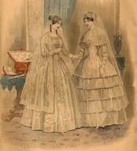 Wedding Costume - Godey's Lady's Book. Mar 1850.