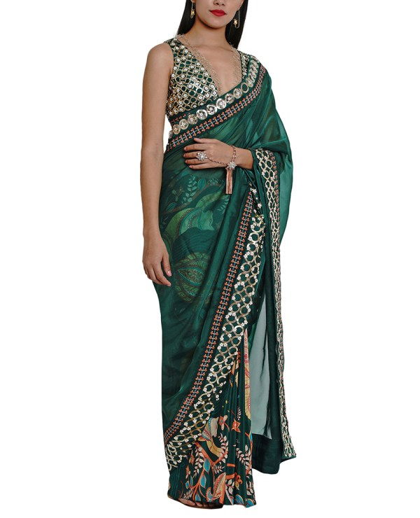 Printed Embroidered Half and Half Sheer Sari