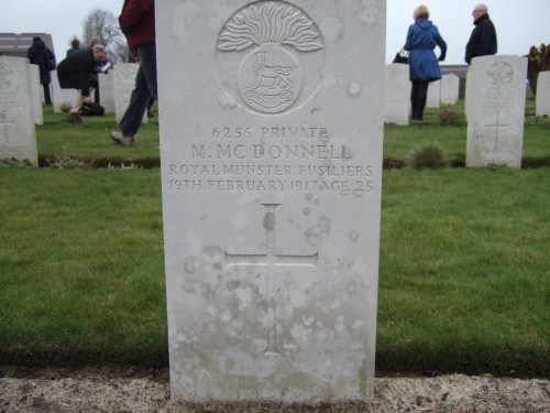 J 13. Private Michael McDonnell (6255) 1st. Bn. Royal Munster Fusiliers (Photo by John Cusack at Pond Farm Cemetery)