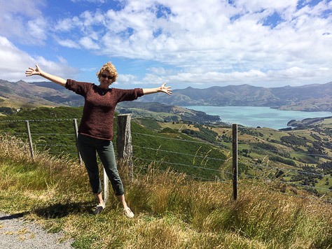 Lynn expresses her pleasure at being high above Akaroa
