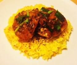 Crispy harissa chicken with saffron rice