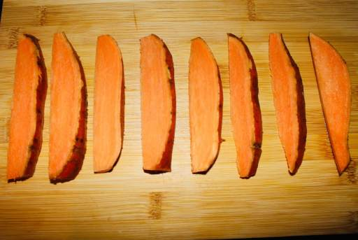 One sweet potato cut into 8 pieces. Cut in half, then half again, then half again.