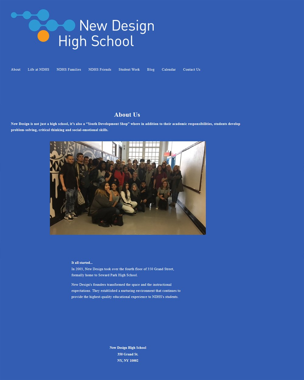 New Design High School, About page before
