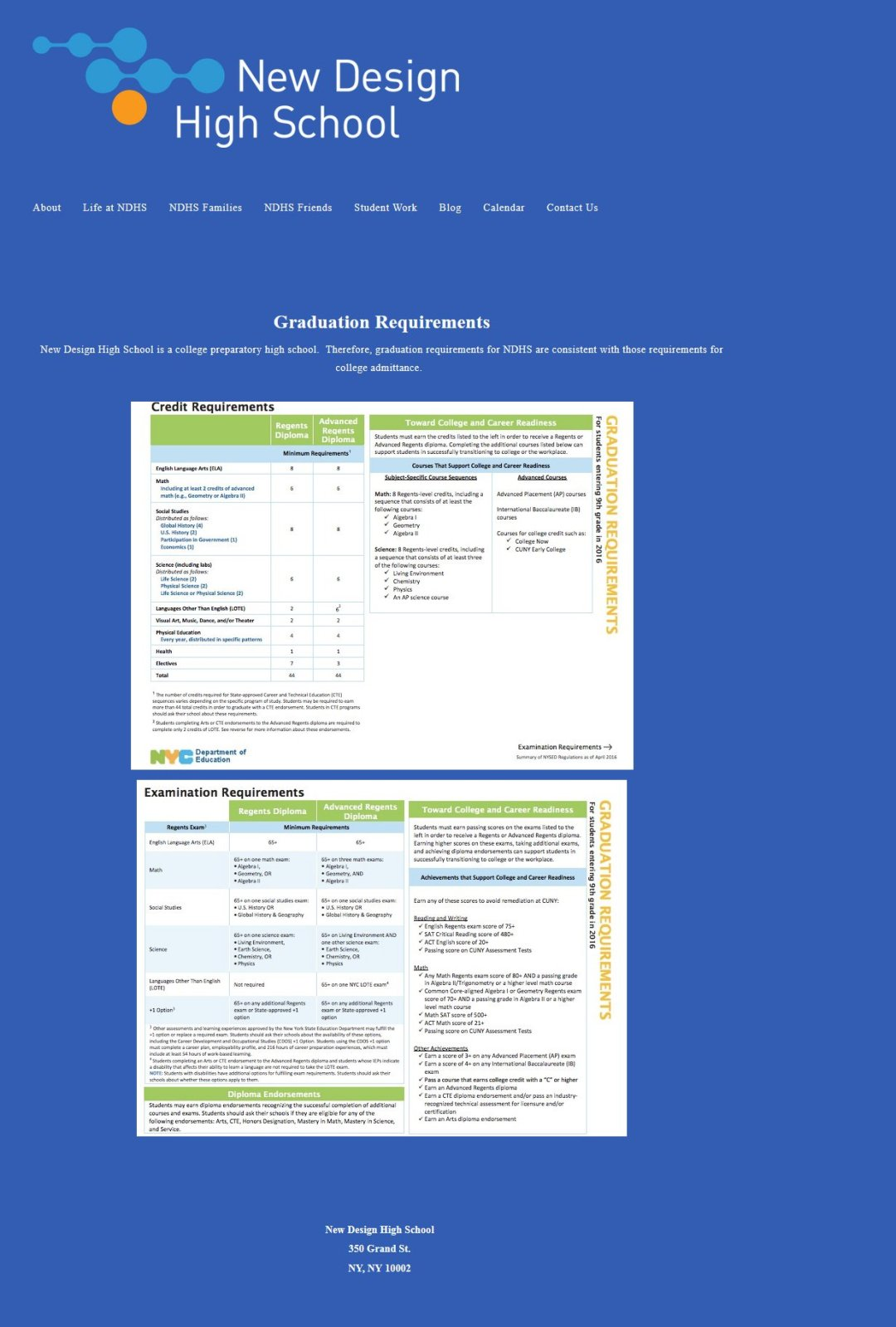 New Design High School, Graduation Requirements page before