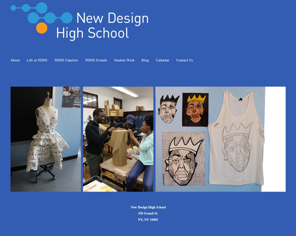 New Design High School, Home page before