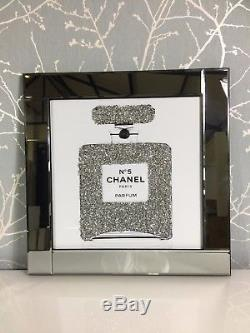 Sparkly Diamond Crystal Chanel No 5 Bottle Mirrored 60cm