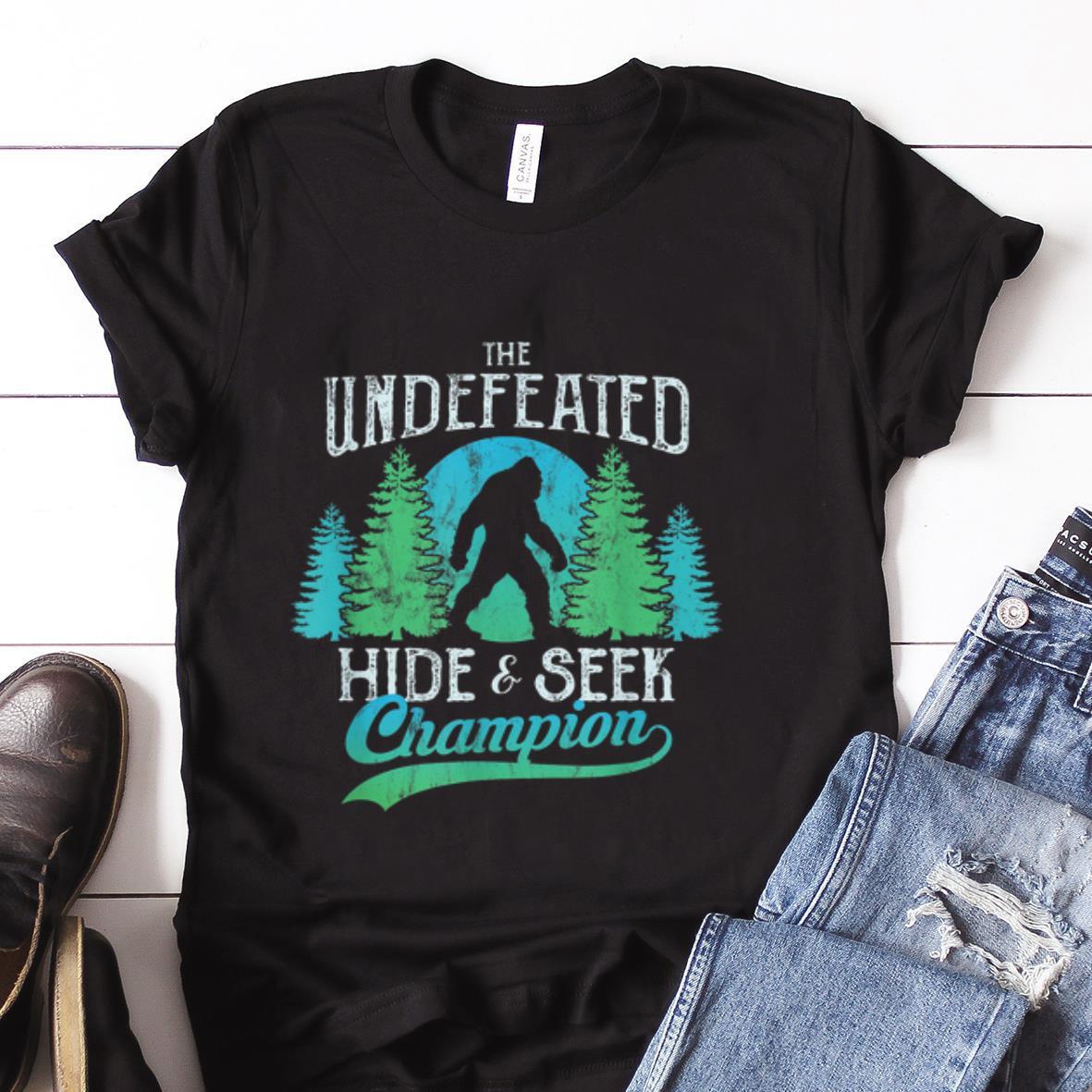 Best Price Sasquatch Bigfoot Undefeated Hide Seek World Champion Blue Vintage Shirt