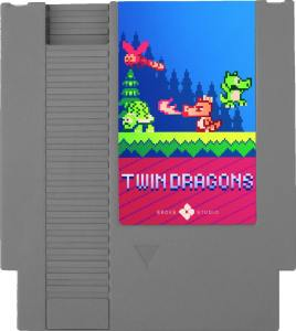 twin dragons broke studio nes cartridge label