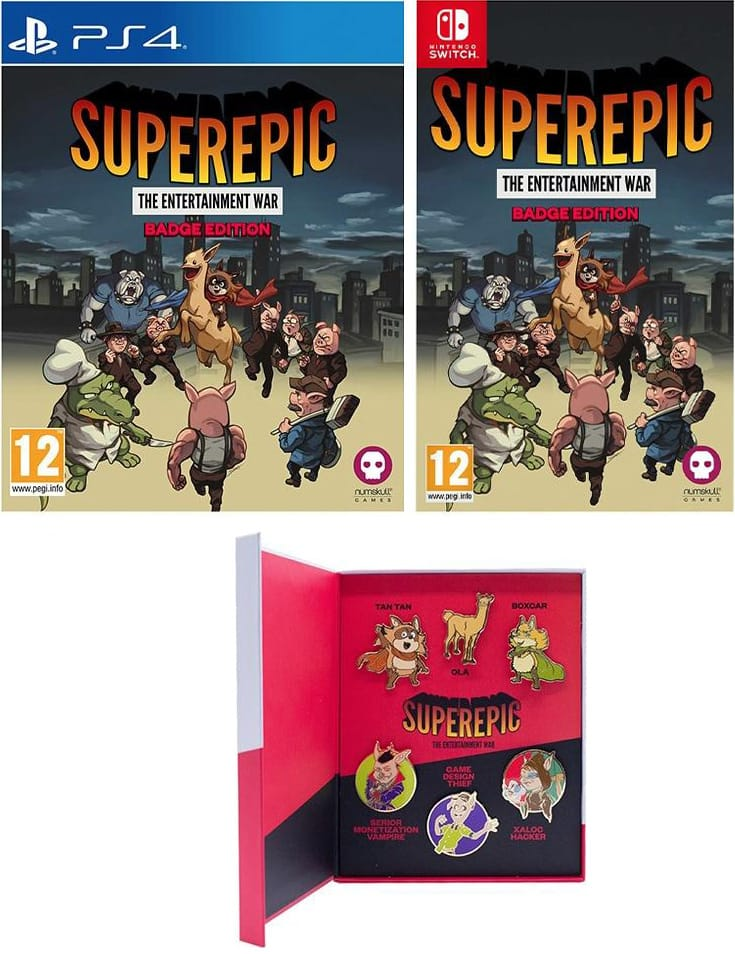 superepic physical release badge edition numskull games ps4 nintendo switch cover limitedgamenews.com