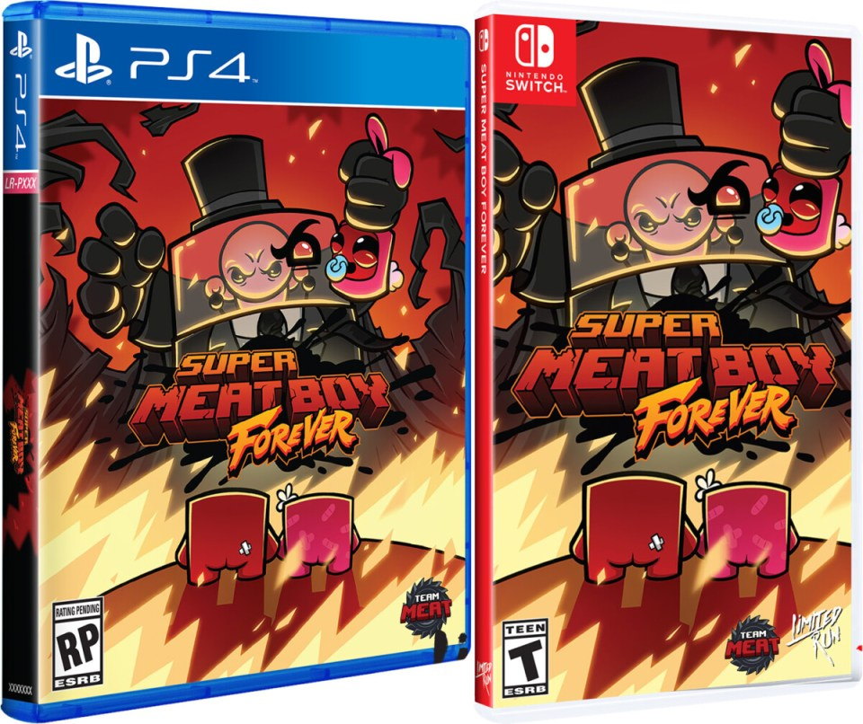 super meat boy forever standard edition physical retail release limited run games playstation 4 nintendo switch cover www.limitedgamenews.com