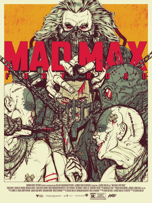 "「マッドマックス 怒りのデス・ロード」 Mad Max: Fury Road  by Boneface.  18""x24"" screen print. Hand numbered. Edition of 275.  Printed by D&L Screenprinting.  US$45"