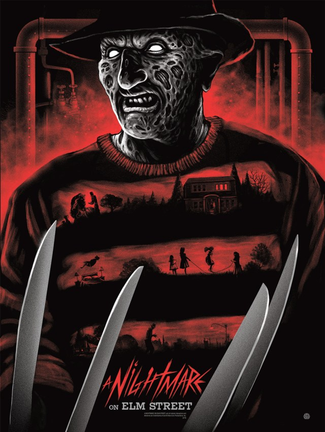 "「エルム街の悪夢」 A Nightmare on Elm Street  by Gary Pullin.  18""x24"" screen print. Hand numbered. Edition of 225.  Printed by D&L Screenprinting.  US$40"