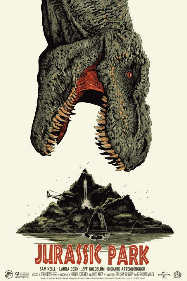 "「ジュラシックパーク」 Jurassic Park  by Francesco Francavilla.  24""x36"" screen print.  Hand numbered. Edition of 400.  Printed by D&L Screenprinting.  US$55"